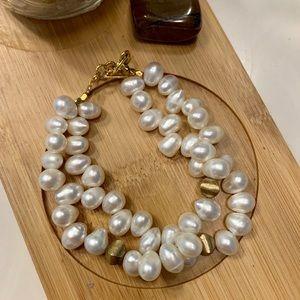 Jewelry - Faux Pearl Drop Double Strand Bracelet